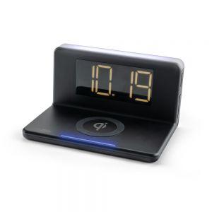 CALHCG018QI-B Caliber Alarm Clock With Qi Wireless Charging Pad & USB Output - Black Main Image