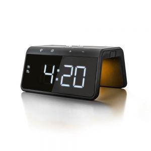 CALHCG019QI-B Caliber Alarm Clock With Qi Wireless Charging Pad & USB Output - Black Main Image