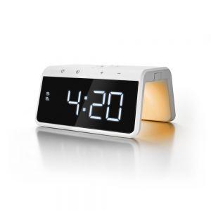 CALHCG019QI-W Caliber Alarm Clock With Qi Wireless Charging Pad & USB Output - White Main Image