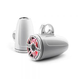 "JLM6-770ETXV3-GW-S-GWGW-I Marine M6 7.7"" (196 mm) Tower Coaxial Speakers w/ LED Gloss White Sport Grills Main Image"
