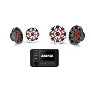 "KICKER Audio KMC4 With 6.5"" & 8"" Coaxial Speakers Bundle"
