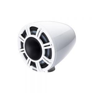 """KM Marine 11"""" (280 mm) Surface Horn Speaker System - White LED Grills"""